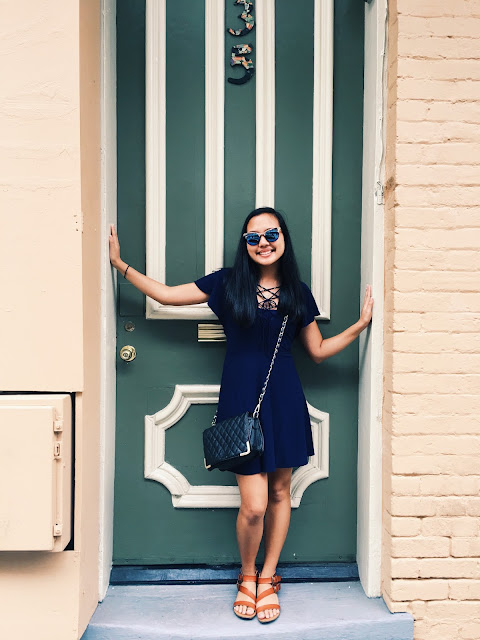 new orleans outfit, lauren banawa, new orleans buildings, green door, summer outfit