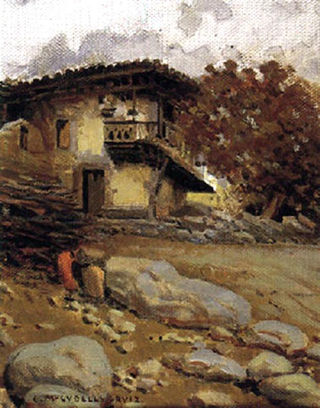 Vista del Caserio, Enrique Martínez Cubells, Pintor español, Pintores españoles, Martínez Cubells, Paisajes de Enrique Martínez Cubells, Pintores Valencianos