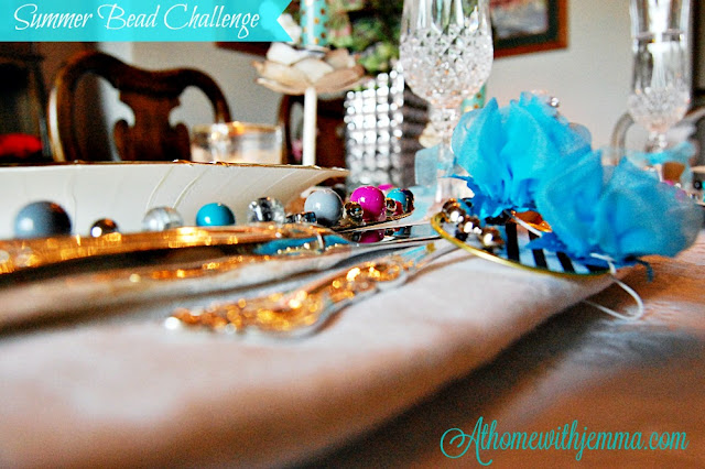 glass beads, multi colored beads, teal, gold, candles, crystal,