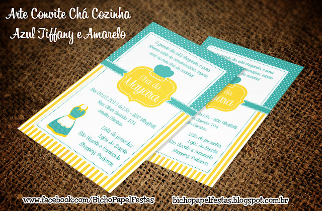 Convite Chá de Cozinha Azul Tiffany e Amarelo
