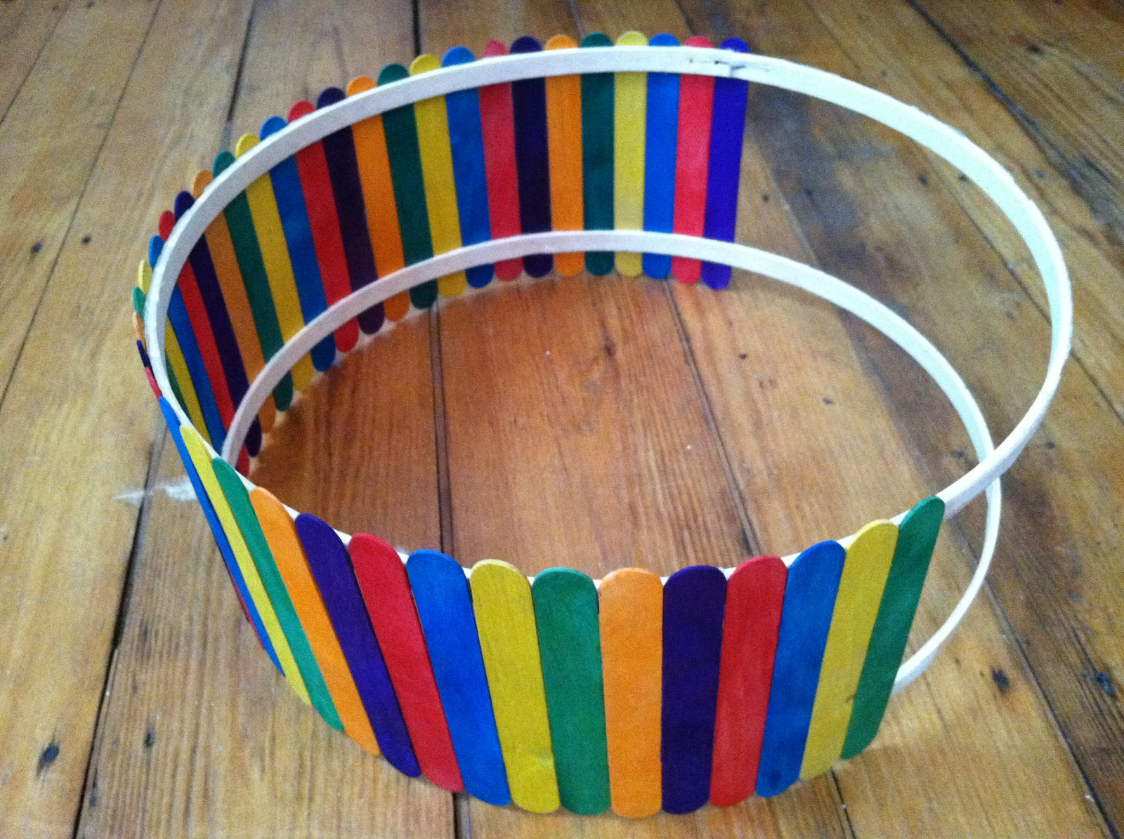 Then I Started Gluing The Popsicle Sticks To Each Set Of Embroidery Hoops Like So As You Can See Chose Multi Colored Jumbo Because