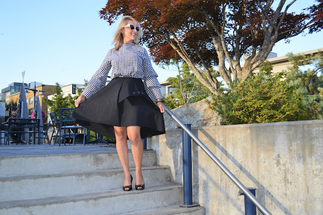 A Line skirt and bell sleeve top