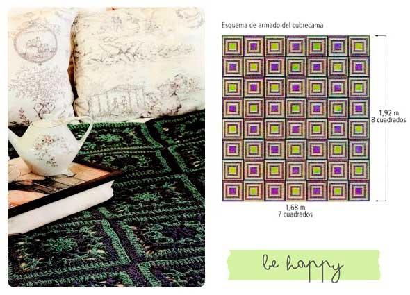 cubrecama, croché, ganchillo, patrones, gráficos, labores, tejer