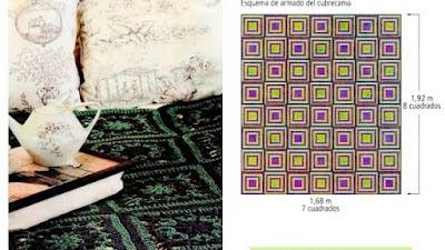 Cubrecamas en contratono cuadrados centro verde