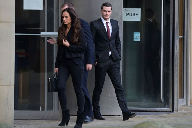 Case: Former Sunderland and England footballer Adam Johnson and his girlfriend Stacey Flounders, leaving Bradford Crown court, in West Yorkshire