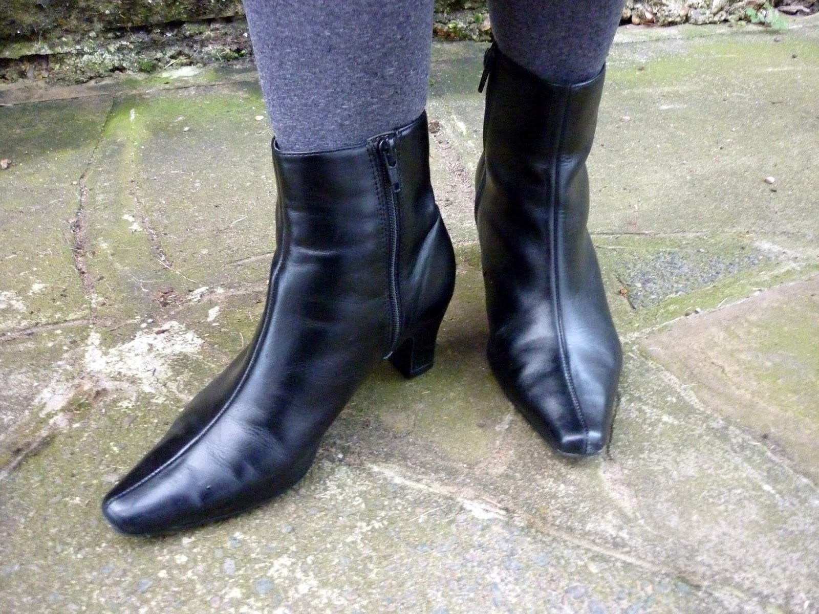Black Leather Marks & Spencer Pointy Ankle Boots | Petite Silver Vixen