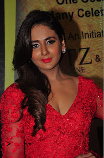 Actress Model Parul Yadav Stills in Red Long Dress at South Scope Lifestyle Awards 2016 Red Carpet  0019.JPG