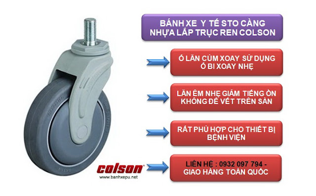 Bánh xe cao su cọc vít chịu tải trọng 70kg | STO-3854-448 www.banhxepu.net