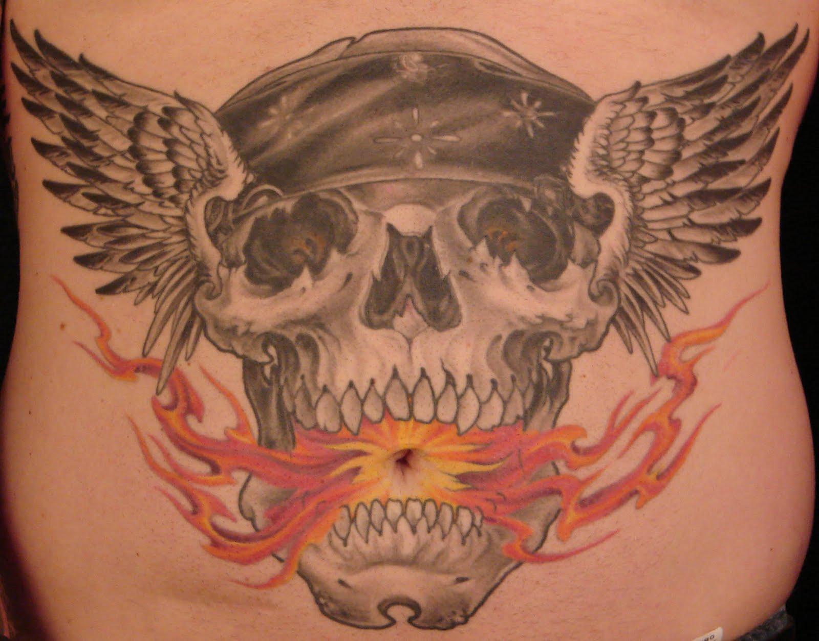 Big skull bat wings tattoo on stomach - Tattoos Book - 65 ...  |Skull Tummy Tattoo Wings