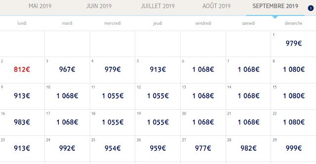 Tarif des séjours de Mai 2019 à Février 2020