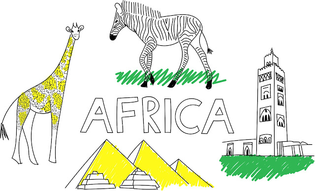 africa illustration with zebra, giraffe, Marrakech tower and pyramids of Giza