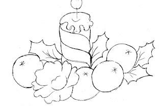 desenho de vela de natal com bolas e rosa para pintar