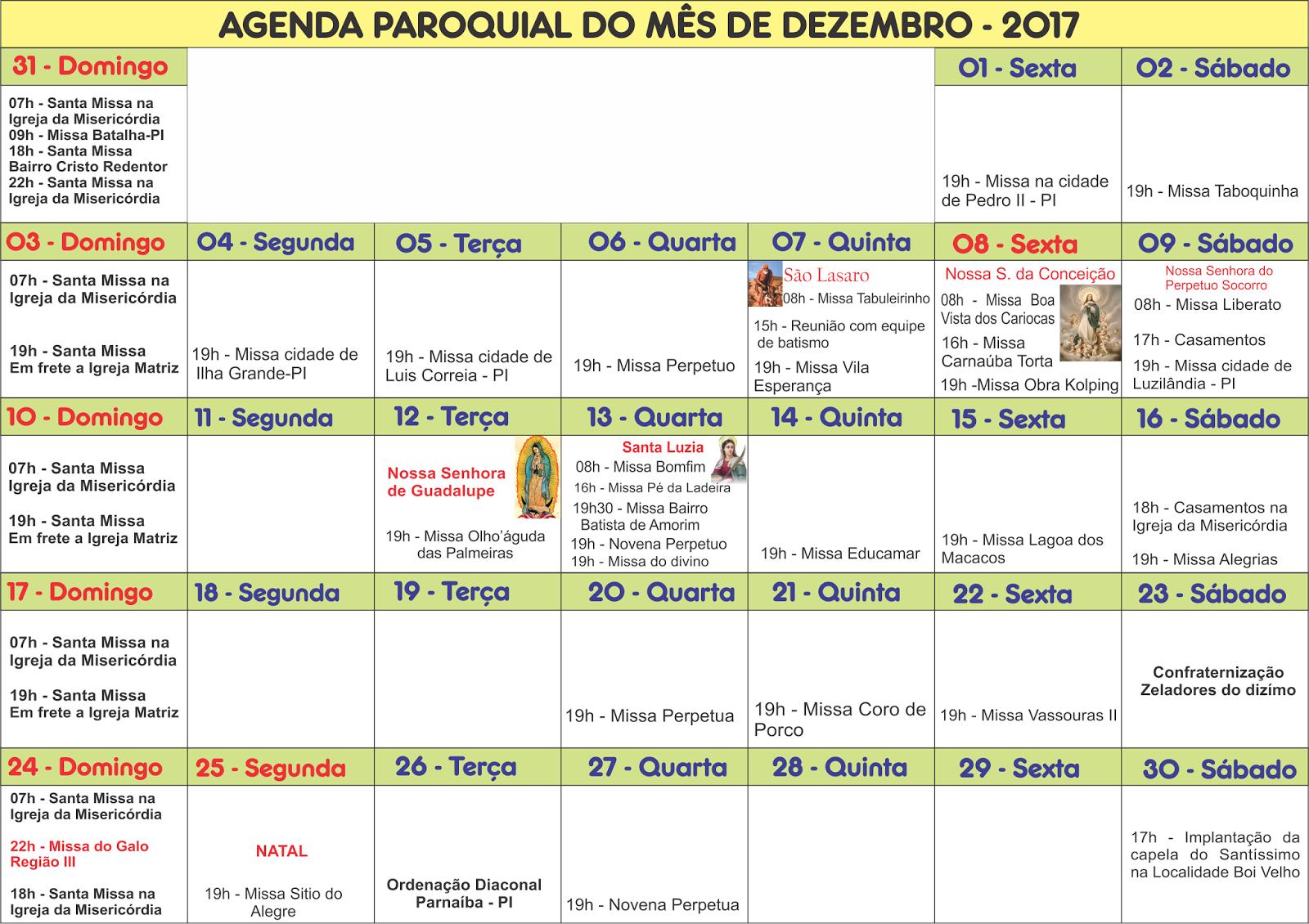 Agenda Paroquial: Dezembro de 2017