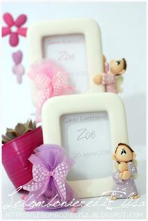 bomboniere personalizzabili lilla e rosa battesimo