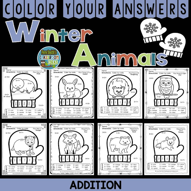 Winter Math: Winter Fun! The Mitten Winter Animals Addition Facts - Color Your Answers Printables for Winter Addition, perfect for winter time in your classroom.  A perfect way to incorporate your math lesson into your thematic unit when you are reading Jan Brett's The Mitten.