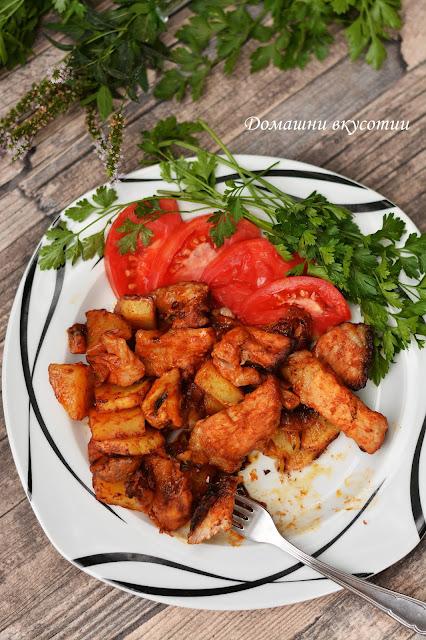 Сочно свинско с гъби и картофи