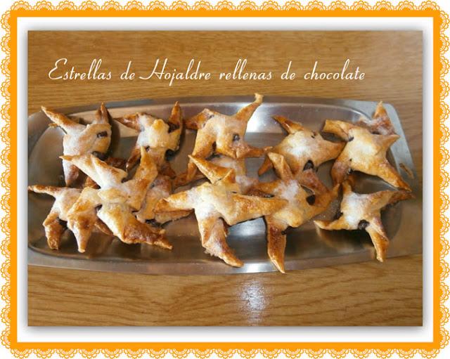 estrellas de hojaldre rellenas de chocolate