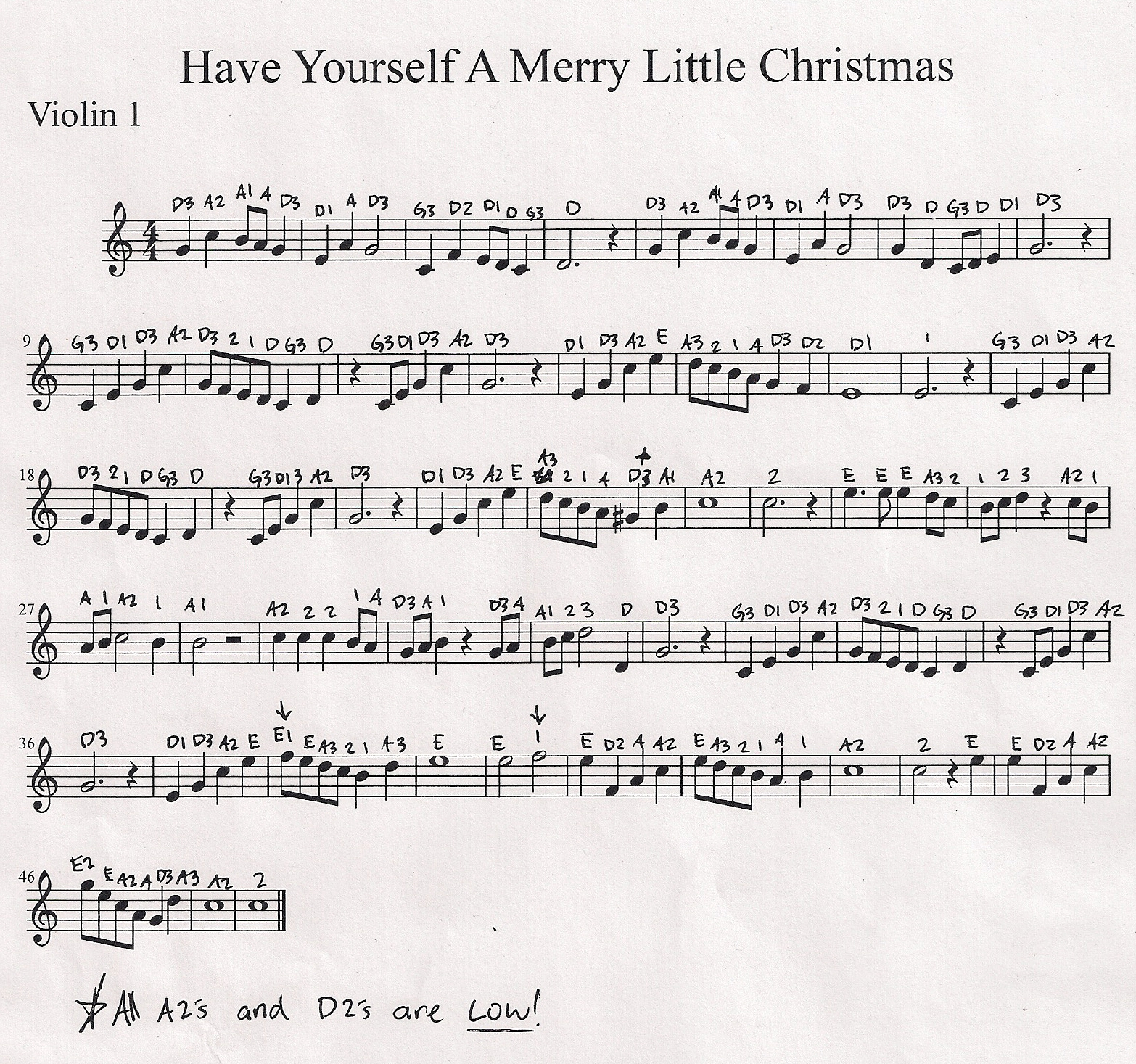 Have Yourself A Merry Little Christmas Piano Sheet Music.Vineyard Violins Have Yourself A Merry Little Christmas