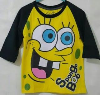 kaos raglan anak karakter SpongeBob SquarePants