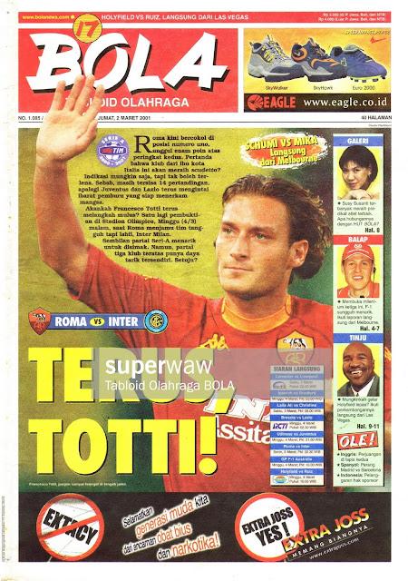 FRANCESCO TOTTI AS ROMA 2001 SERI A ITALY