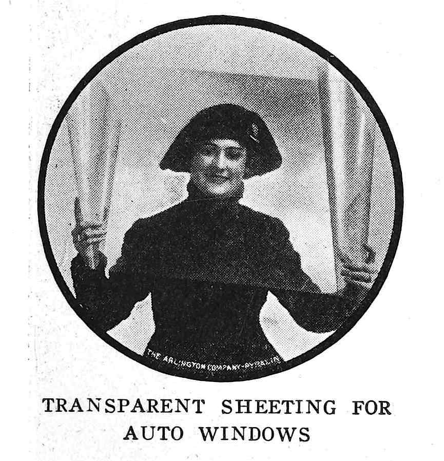 transparent sheeting for auto windows 1917, a photograph advertisement with a model