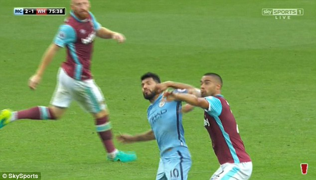 Sergio Aguero clashes with Winston Reid