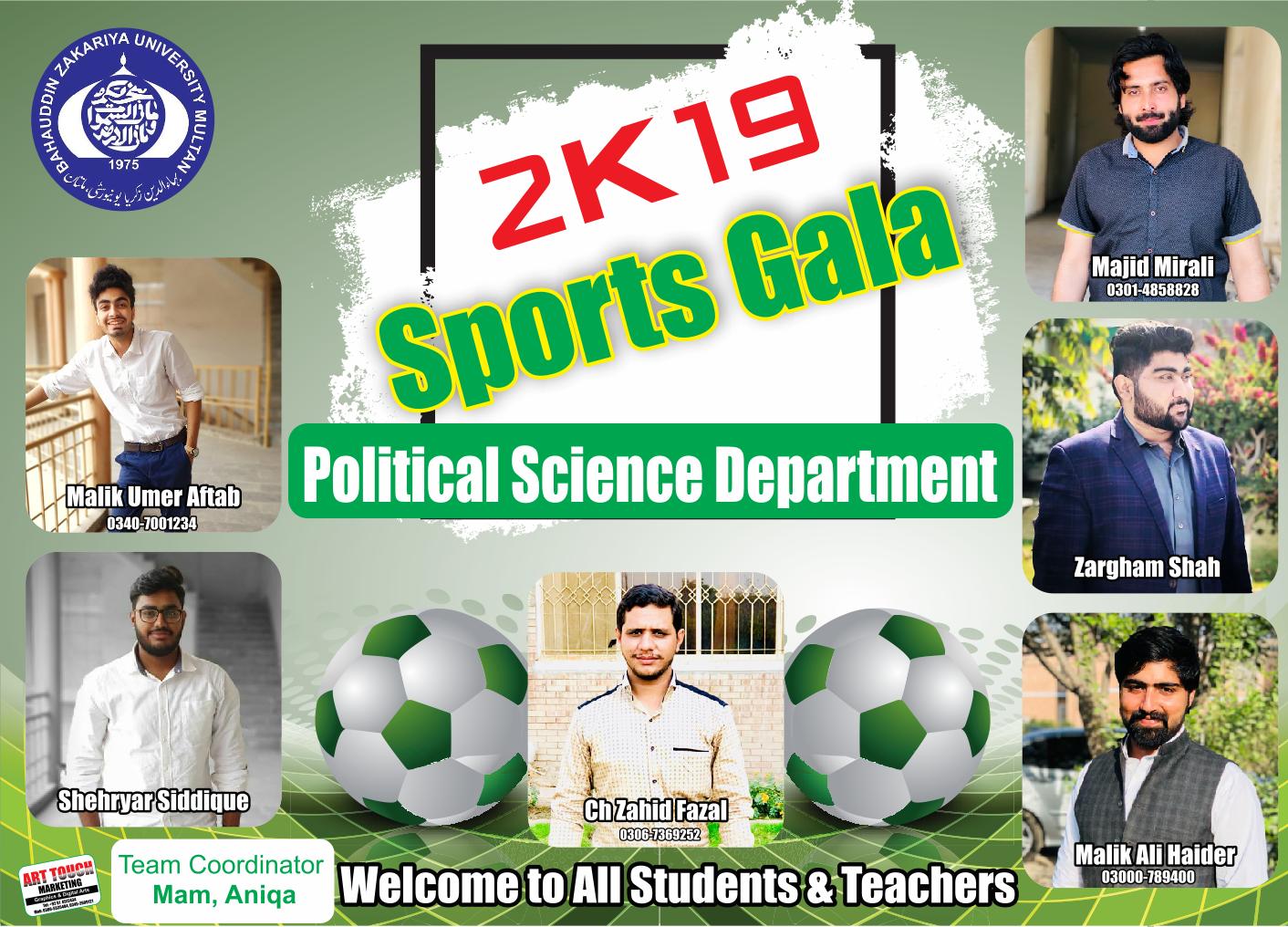2k19 Sport Gala in BZU Multan || English Flex Design - Wafiq