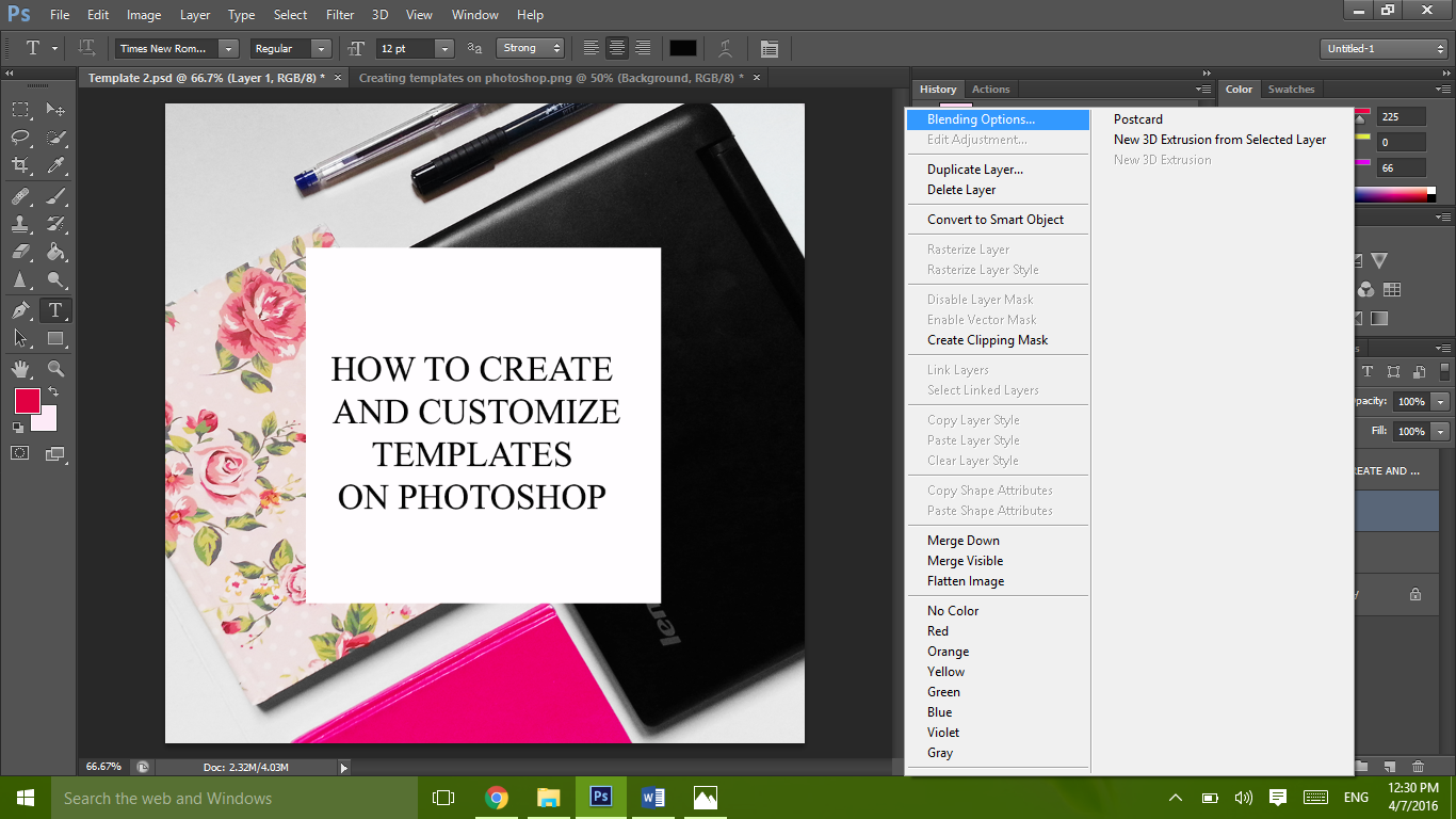Save time on editing your pictures and create a template on photoshop
