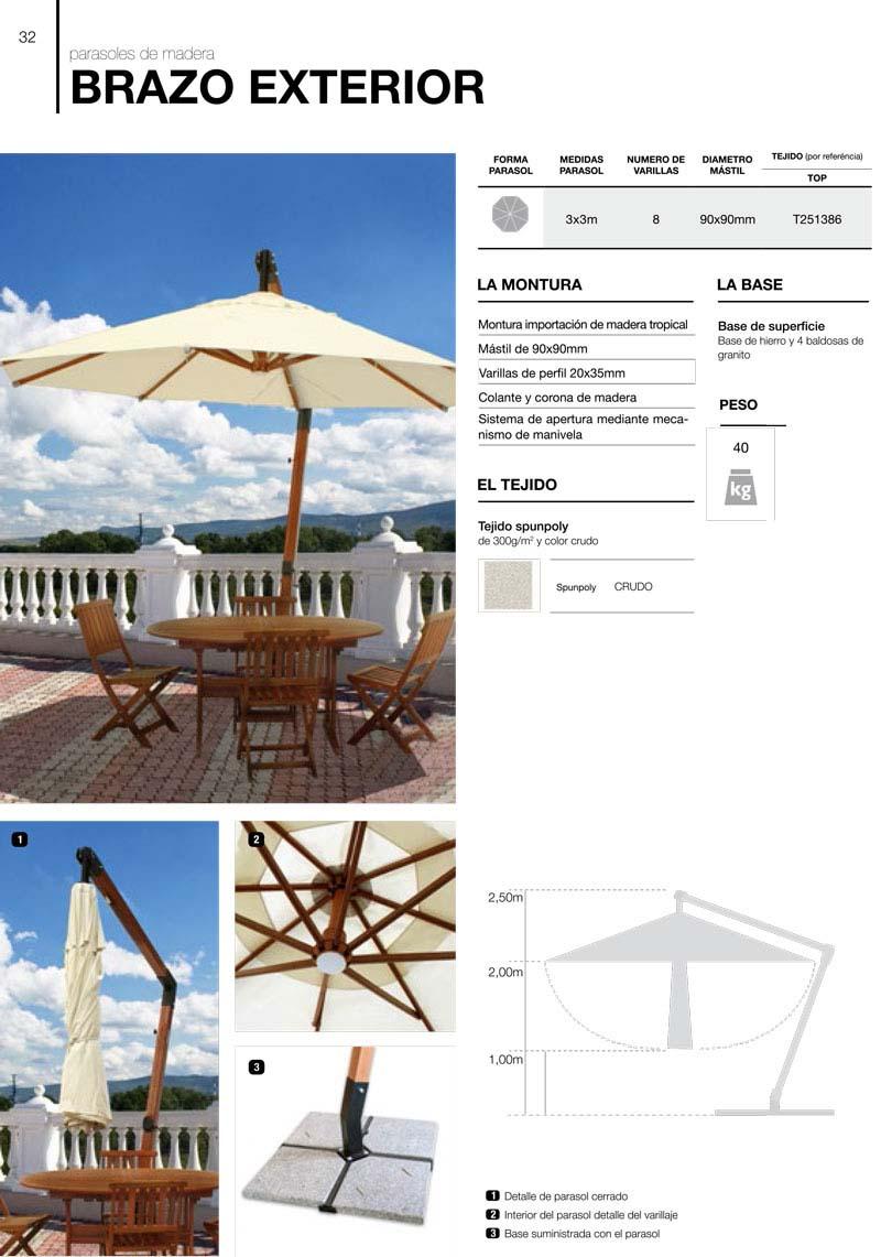 parasoles madera serie brazo exterior