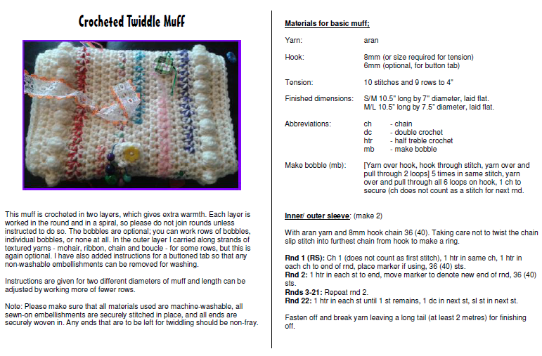 Knit And Natter Twiddle Muffs