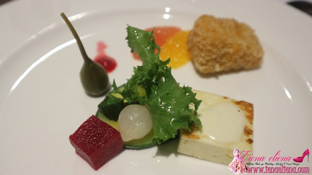 2. Warm Appetizer · Seared-Haloumi and Breaded Camembert · Pickles and Sesame Dressing