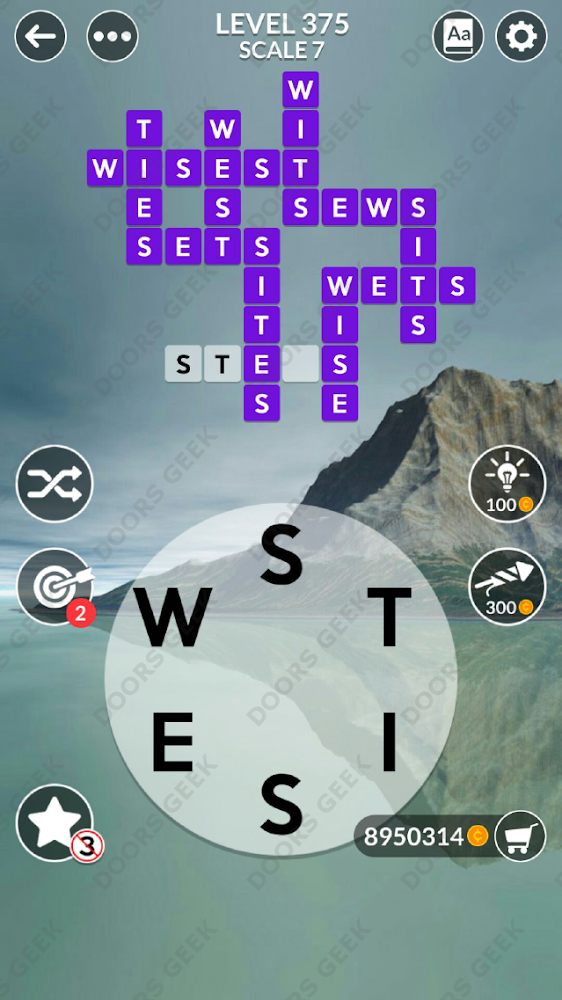 Wordscapes Level 375 answers, cheats, solution for android and ios devices.