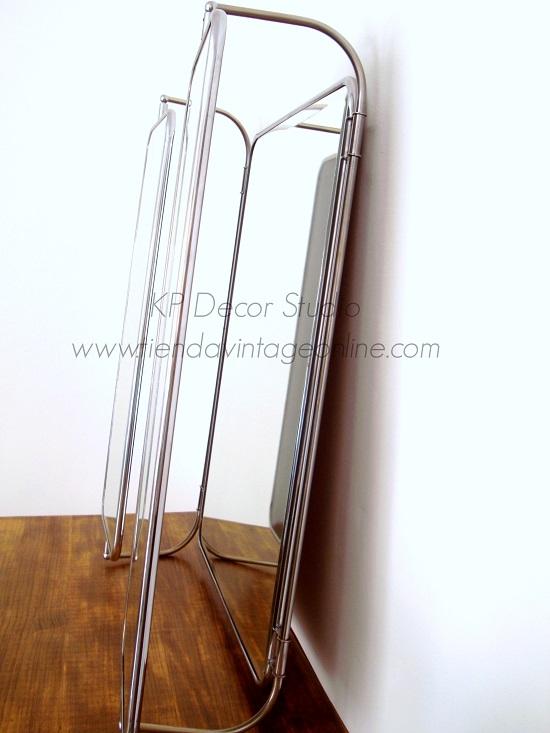 Espejos cromados metalicos con hojas abatibles vintage antiguos