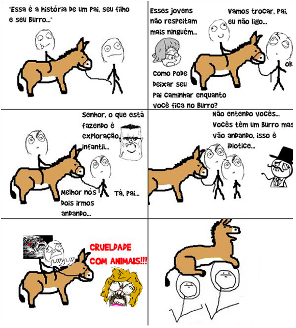 Tirinha do blog Vida de Meme: A história do burro