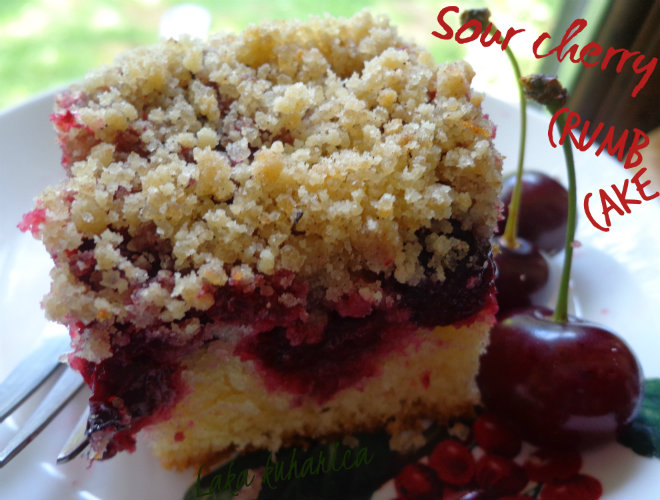 Sour cherry crumb cake by Laka kuharica: tender vanilla cake with fresh sour cherries, and the crumb topping.
