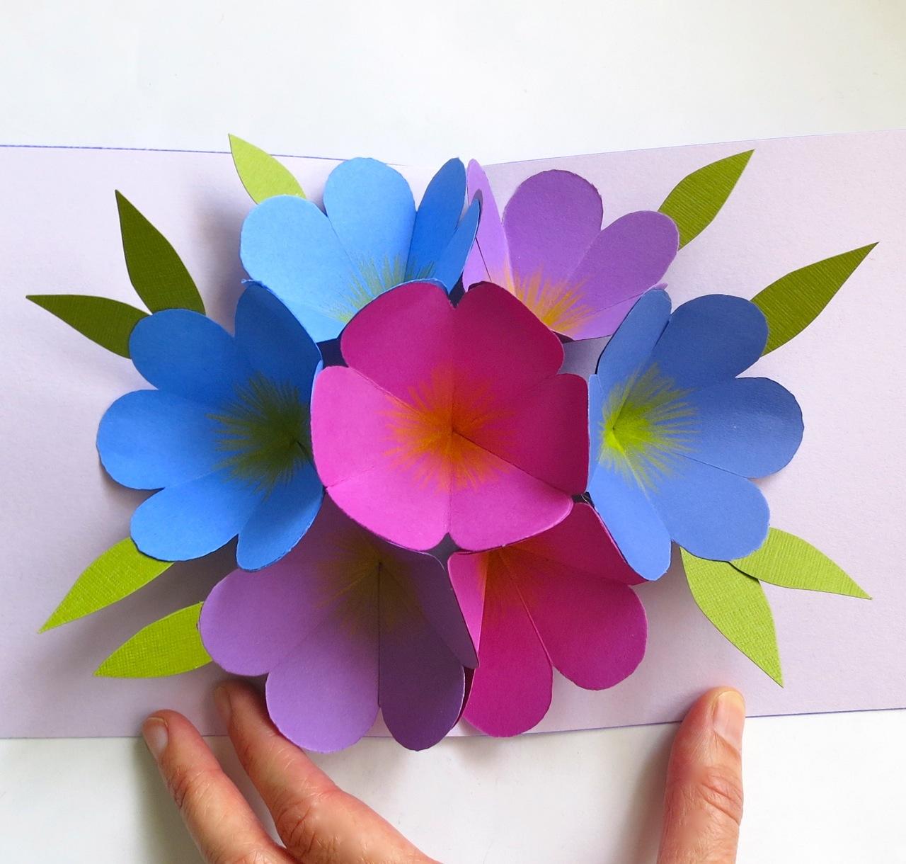 Цветов из цветной бумаги на открытку, картинки