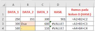 arti nilai Error #VALUE! pada Excel