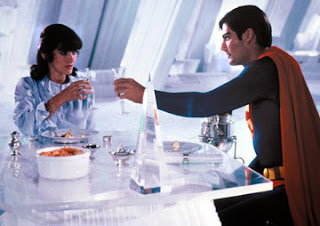 Christopher Reeve and Margot Kidder as Superman and Lois Lane in the Fortress of Solitude in Superman 2 (1980)