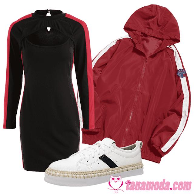 Look jaqueta bomber vermelha e vestido sport preto.