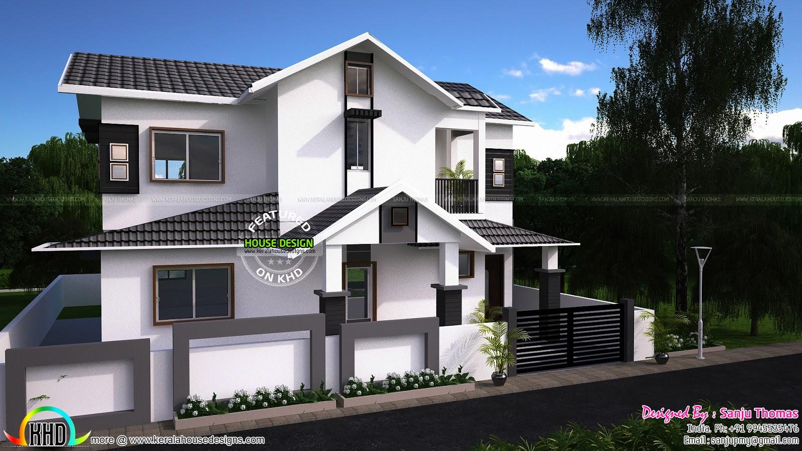 1940 sq ft modern sloping roof home kerala home design for Modern sloped house design