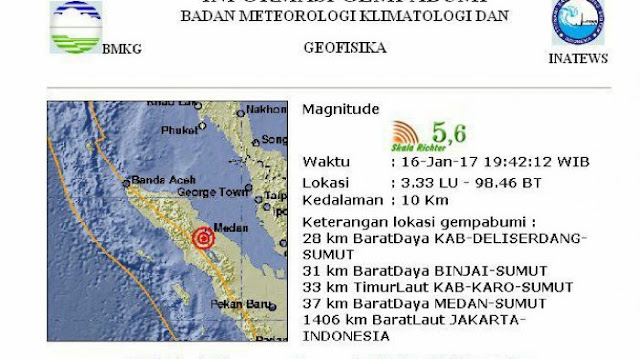 Gempa 4,5 SR Guncang Deliserdang, Medan hingga Berastagi Terasa Guncangan Hebat