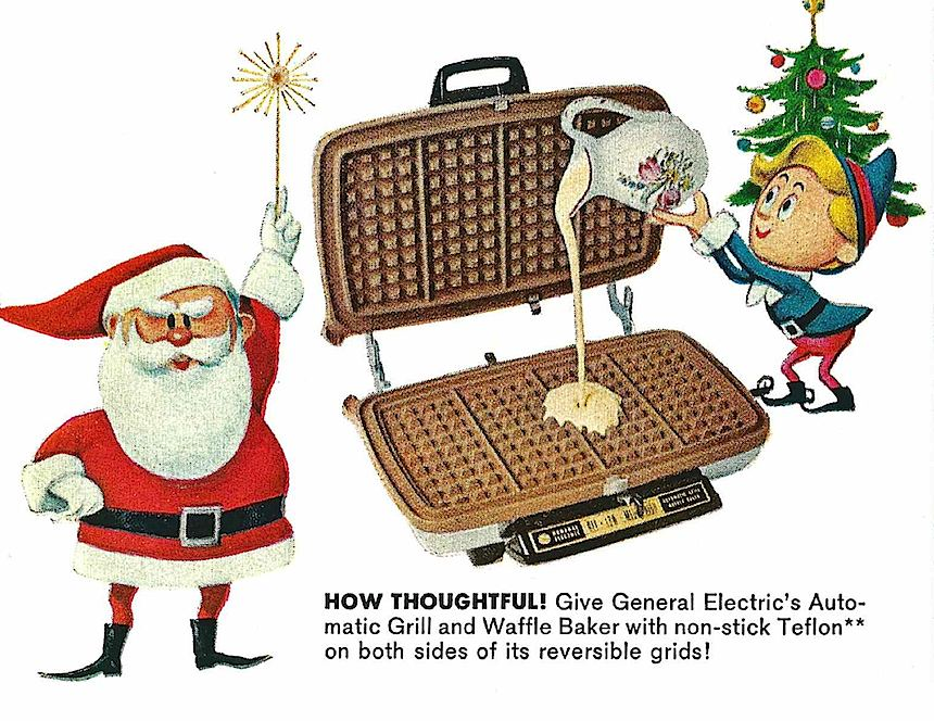 1965 GE waffle grill, early Teflon, waffle iron