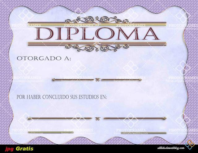 Diploma color violeta con motivo a finalización del año escolar