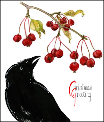 raven and crabapples Christmas card