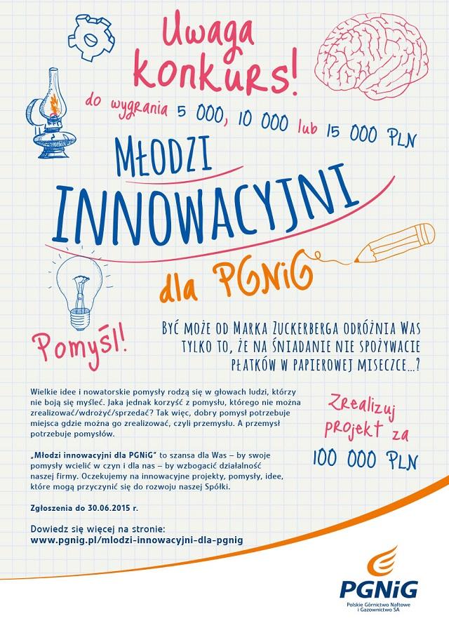 Plakat reklamowy konkursu Młodzi Innowacyjni dla PGNiG