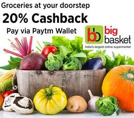 Bigbasket: Get 20% Paytm Cashback on Grocery (Max Cashback Rs.150) Valid till 04th April'16