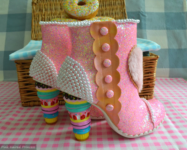 pink glitter pearl macaron heeled ankle boots on gingham picnic blanket
