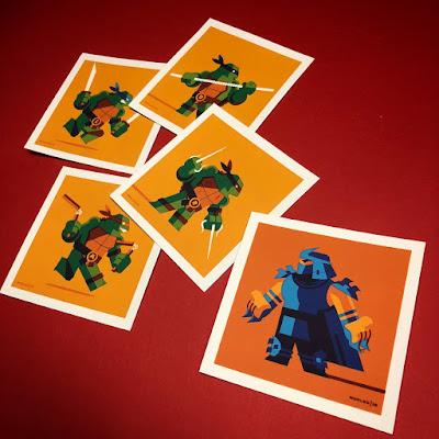 New York Comic Con 2018 Exclusive Teenage Mutant Ninja Turtles 4x4 Screen Print Set by Tom Whalen