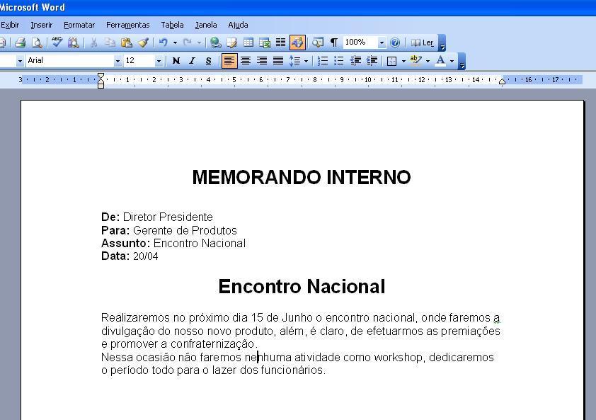 Professor George Ricardo Aula 2 - Criando um Memorando - Word 2003