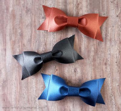 DIY Leather Bows at artsyfartsymama.com